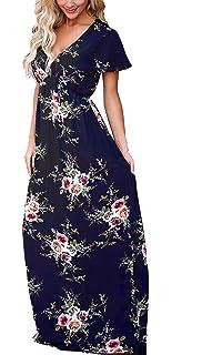 ECOWISH Damen Elegantes Boho V Ausschnitt Blumendruck Lang Maxikleid  Partykleider Cocktailkleid dfa14dff74