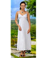 1 World Sarongs Womens Long Summer Embroidered Dress in White
