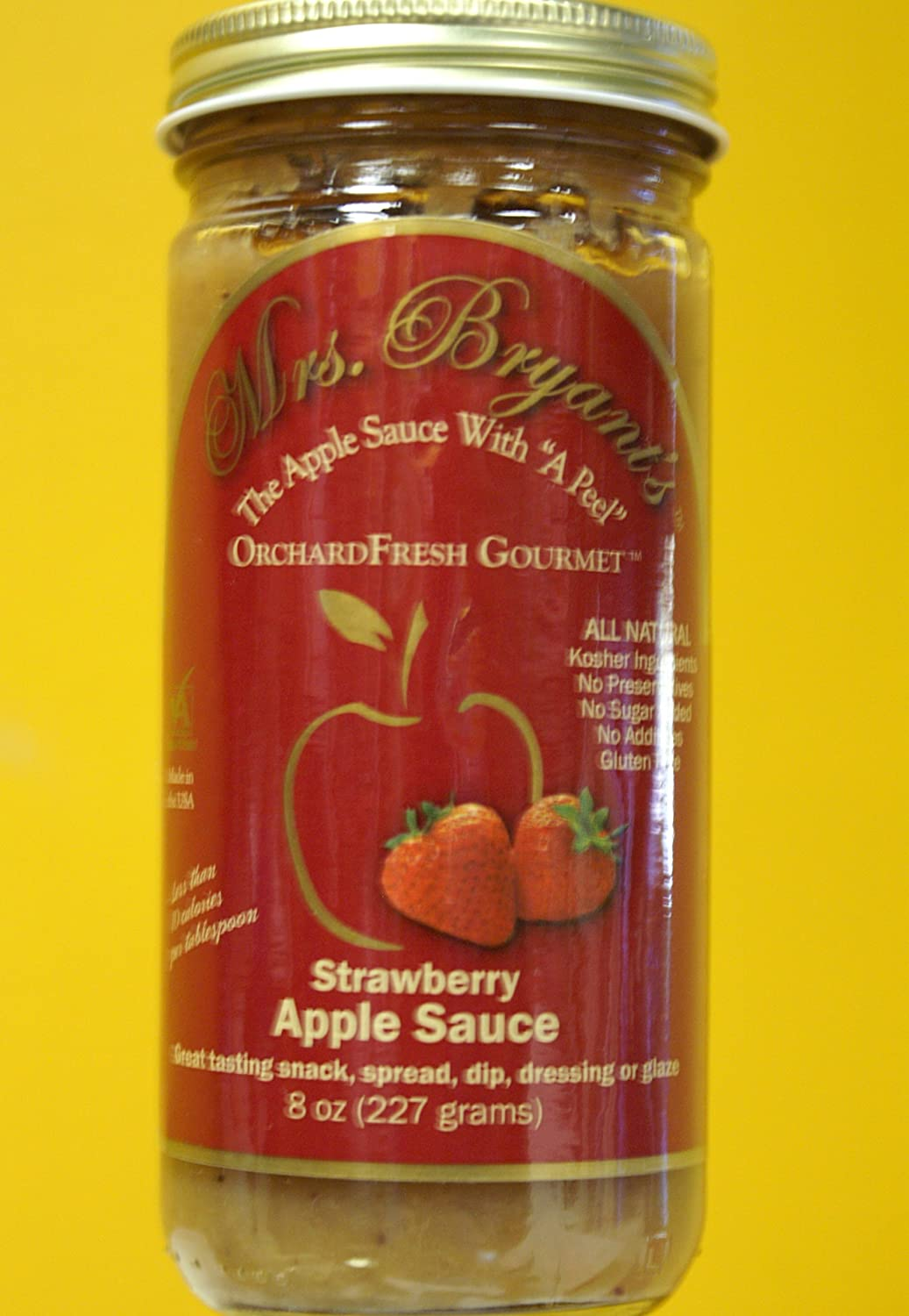 "Strawberry Apple Sauce - Mrs. Bryant's All Natural Strawberry Applesauce NO SUGAR ADDED, Gluten Free, Vegan (8 oz jar) "" Best Apple Sauce Ever in a Jar "" Washington Post"