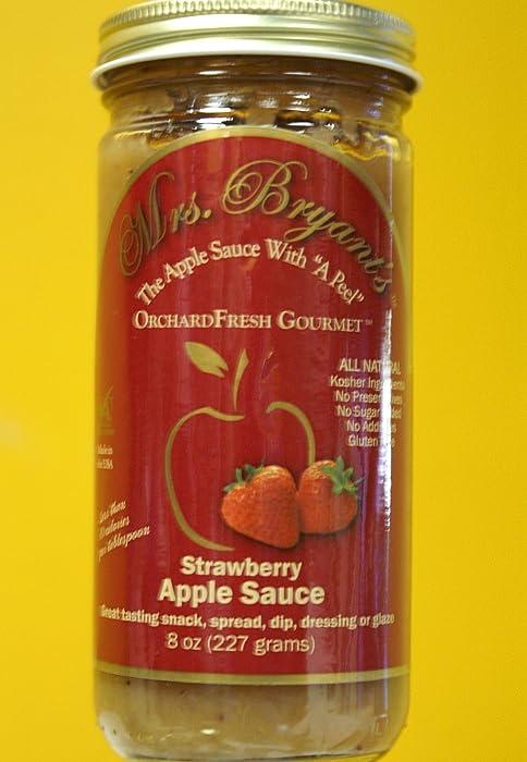 "Strawberry Apple Sauce - Mrs. Bryant's All Natural Strawberry Applesauce NO SUGAR ADDED, Gluten Free, Vegan (8 oz jar) "" Best Apple Sauce Ever in a Jar "" Washington Post"
