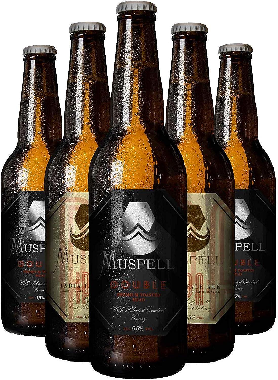 Muspell Hidromiel pack MIXTO DOUBLE/IPA de 6 x 33 cl. 3 Muspell Double + 3 Muspell IPA - bebida sin gluten fermentada con miel