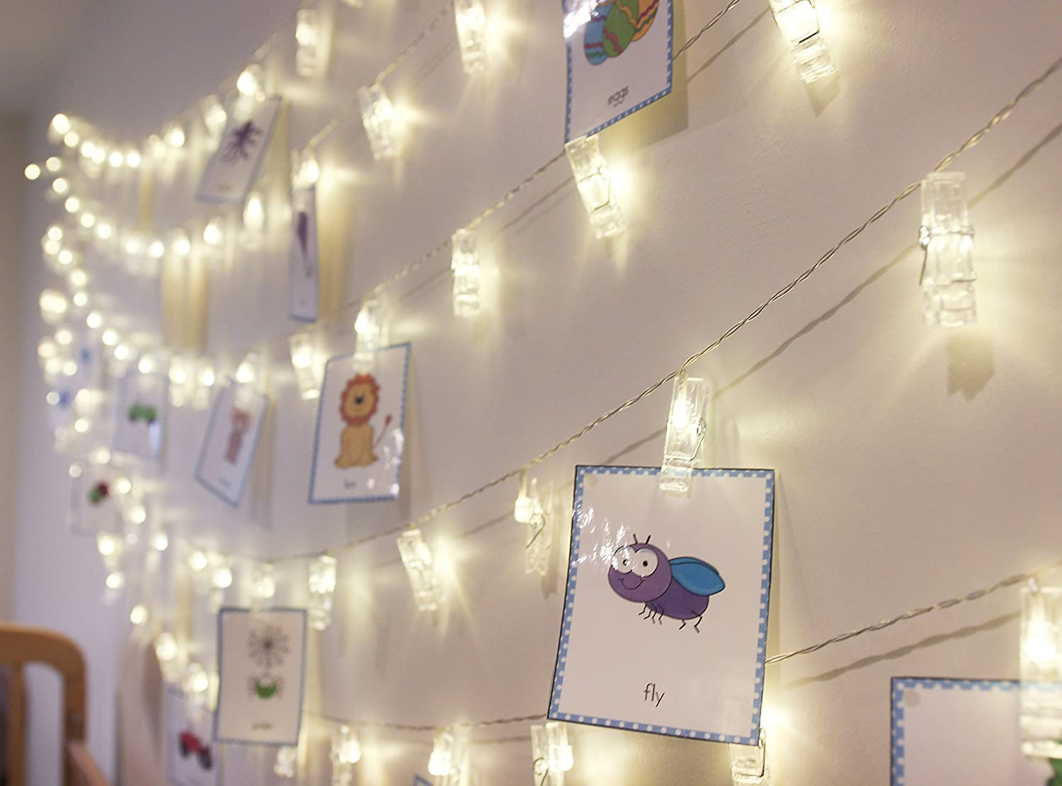 LED Fairy String Lights with Clips for Photos - 20 Battery Operated Warm  White Lights - Bedroom Indoor and Outdoor Decoration