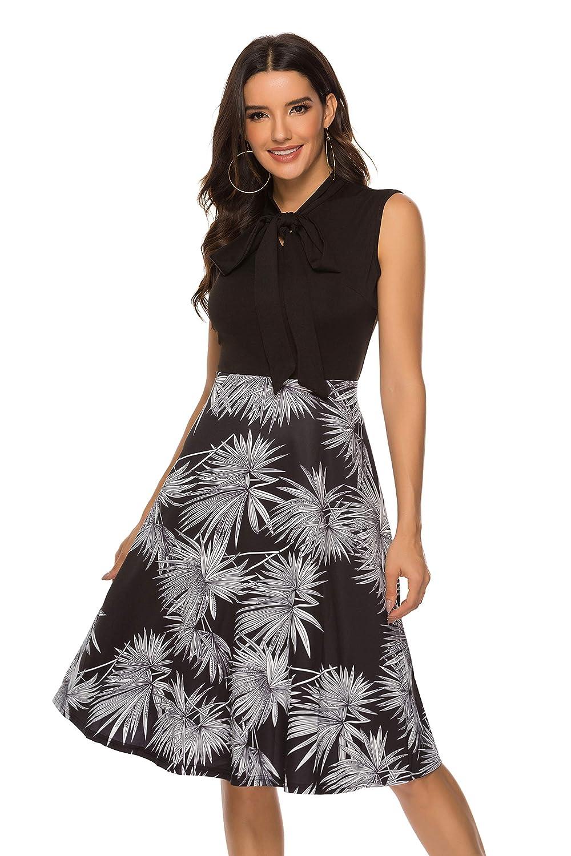 MARI CIAS Women Vintage Bow Tie Dress Sleeveless Midi A-line Party Swing Dresses