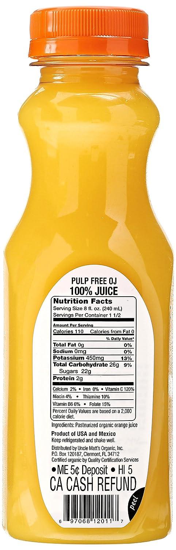 Uncle Matts, Organic Pulp Free Orange Juice, 12 oz: Amazon ...