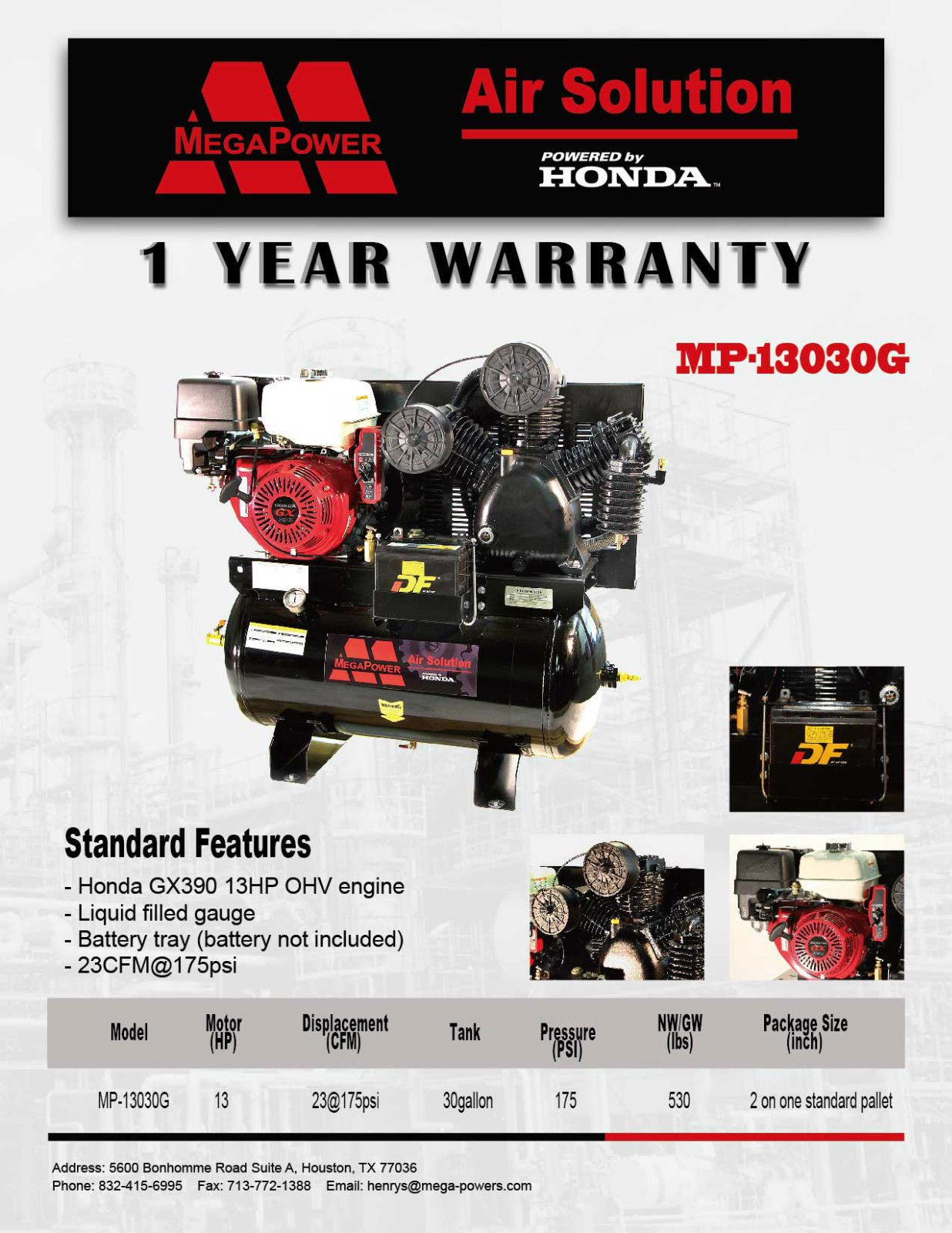 13 HP Honda GX390 Truck Mount Air Compressor 30 Gallon w Battery Tray (0795525333817): Books