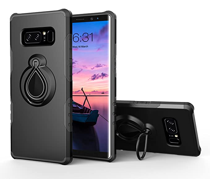 huge sale 3bdcd a2aed Galaxy Note 8 Case, Note 8 Ring Case, Dairnim Stand Shockproof Support  Magnetic Car Mount Holder Case Compatible with Samsung Galaxy Note 8, Black