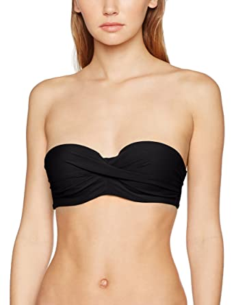 e7cba74daa9cd Calvin Klein Women's Front Twist Structured Bandeau Bikini Top, (Black  001), ...