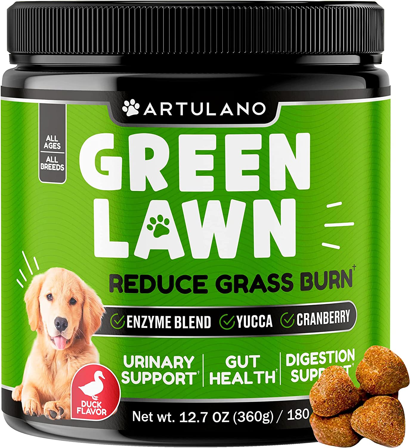Natural Grass Saver for Dogs - Grass Burn Soft Chews for Lawn Spots Caused by Dog Urine - Dog Chew Treats for Urinary Tract, Bladder, Gut Health with Apple Cider Vinegar, Cranberry, Enzyme Blend