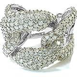 3.40 Carat (ctw) 14K Gold Round Diamond Ladies Cocktail Link Ring