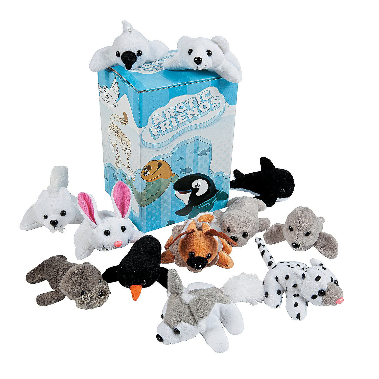 Fun Express - Mini Plush Arctic Assortment (2dz) - Toys - Plush - Bean Bag Animals - 24 Pieces by Fun Express