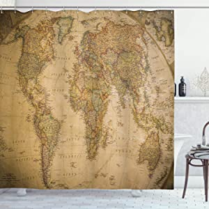 Ambesonne World Map Shower Curtain, Anthique Old World Map in Retro Colors Vintage Nostalgic Design Art Print, Cloth Fabric Bathroom Decor Set with Hooks, 70