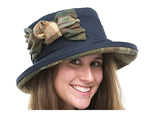 b5b2b136e55 Image Unavailable. Image not available for. Colour  Jane Anne Designs Ladies  Ruby Navy Blue Waxed Cotton Waterproof Winter Wax Cloche Hat ...