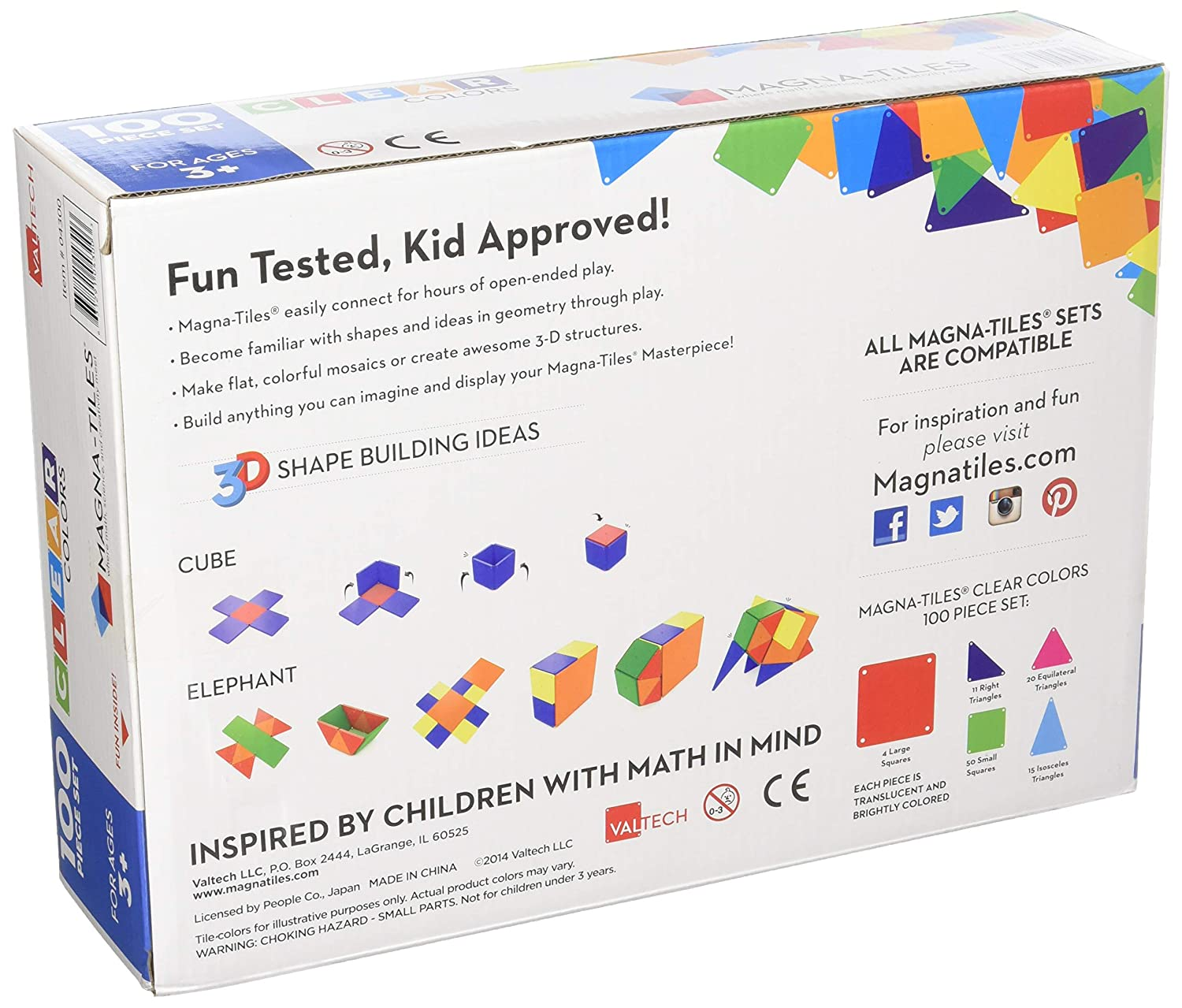 Amazon.com: Magna-Tiles 100-Piece Clear Colors Set – The Original,  Award-Winning Magnetic Building Tiles – Creativity and Educational – STEM  Approved: Toys ...