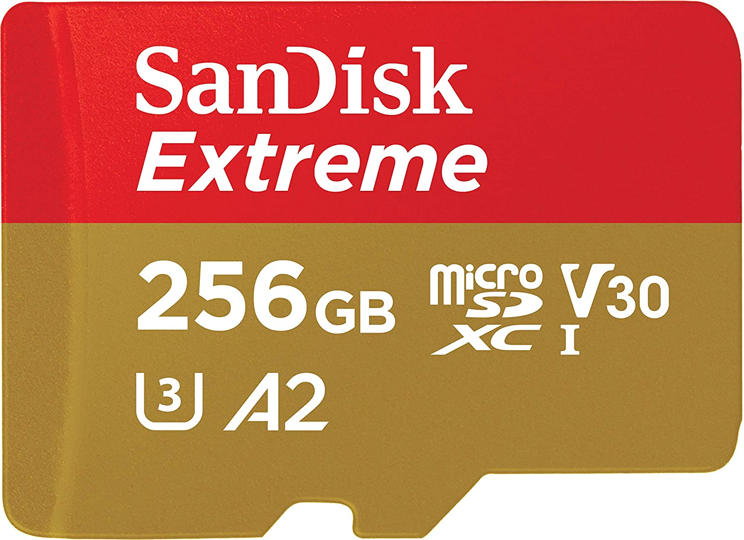 SanDisk 256GB Extreme microSDXC UHS-I Memory Card with Adapter - C10, U3, V30, 4K, A2, Micro SD