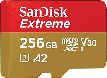 SanDisk Extreme - Tarjeta de memoria microSDXC de 256 GB con adaptador SD, A2, hasta 160 MB/s, Class 10, U3 y V30