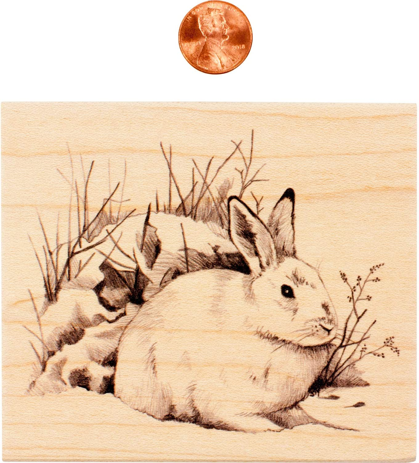 4 x 3.5 x 1 Inkadinkado Snow Rabbit Mounted Rubber Stamp for Card Making and Scrapbooking