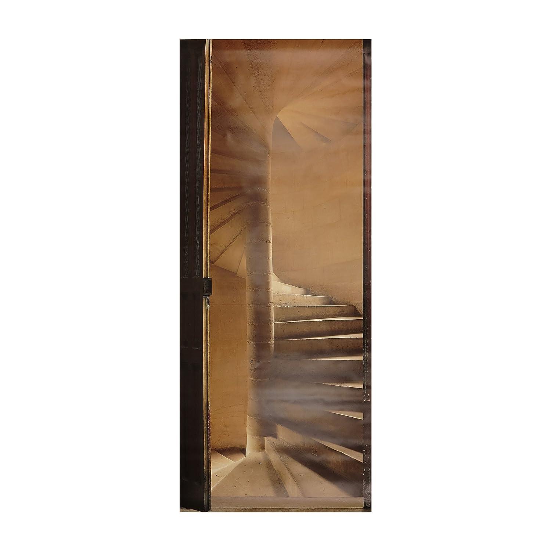 PLAGE Sticker Trompe Lœil Porte Escalier à Vis X - Trompe oeil porte