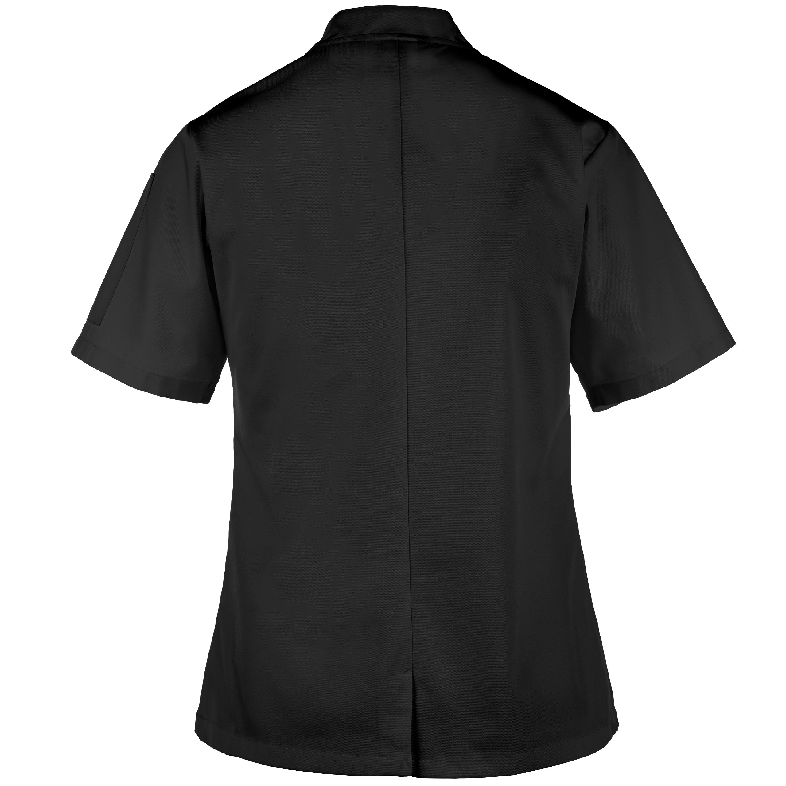 On The Line Women's Short Sleeve Chef Coat/Double Breasted/Plastic Button Reversible Front Closure (S-2X, 2 Colors) (Small, Black) by On The Line (Image #4)