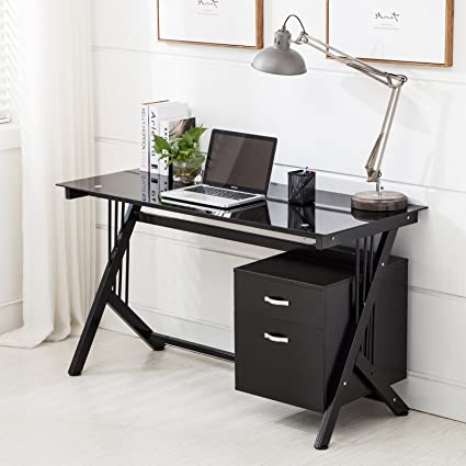 uenjoy negro para ordenador PC de mesa de cristal superior y ...