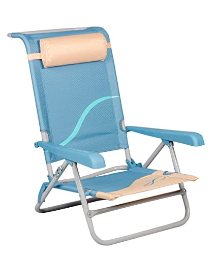 Meerweh Beach Chair with Adjustable Backrest and Head Cushion Folding Chair Fishing Chair Camping Chair