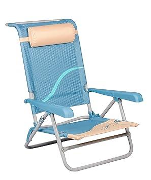 Mar WEH Unisex Playa Silla con Respaldo y reposacabezas Ajustable Silla Plegable Pesca Silla Silla de Camping