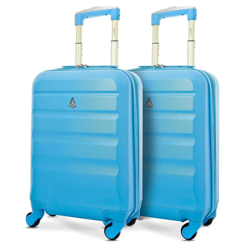 Aerolite Leichtgewicht ABS Hartschale 4 Rollen Handgepäck Trolley Koffer Bordgepäck Kabinentrolley Reisekoffer Gepäck, Genehmigt für Ryanair , easyJet , Lufthansa und viele mehr , 2x Blau