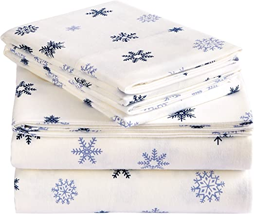Amazon Com Pinzon Cotton Flannel Bed Sheet Set Twin Falling Snowflake Blue Home Kitchen