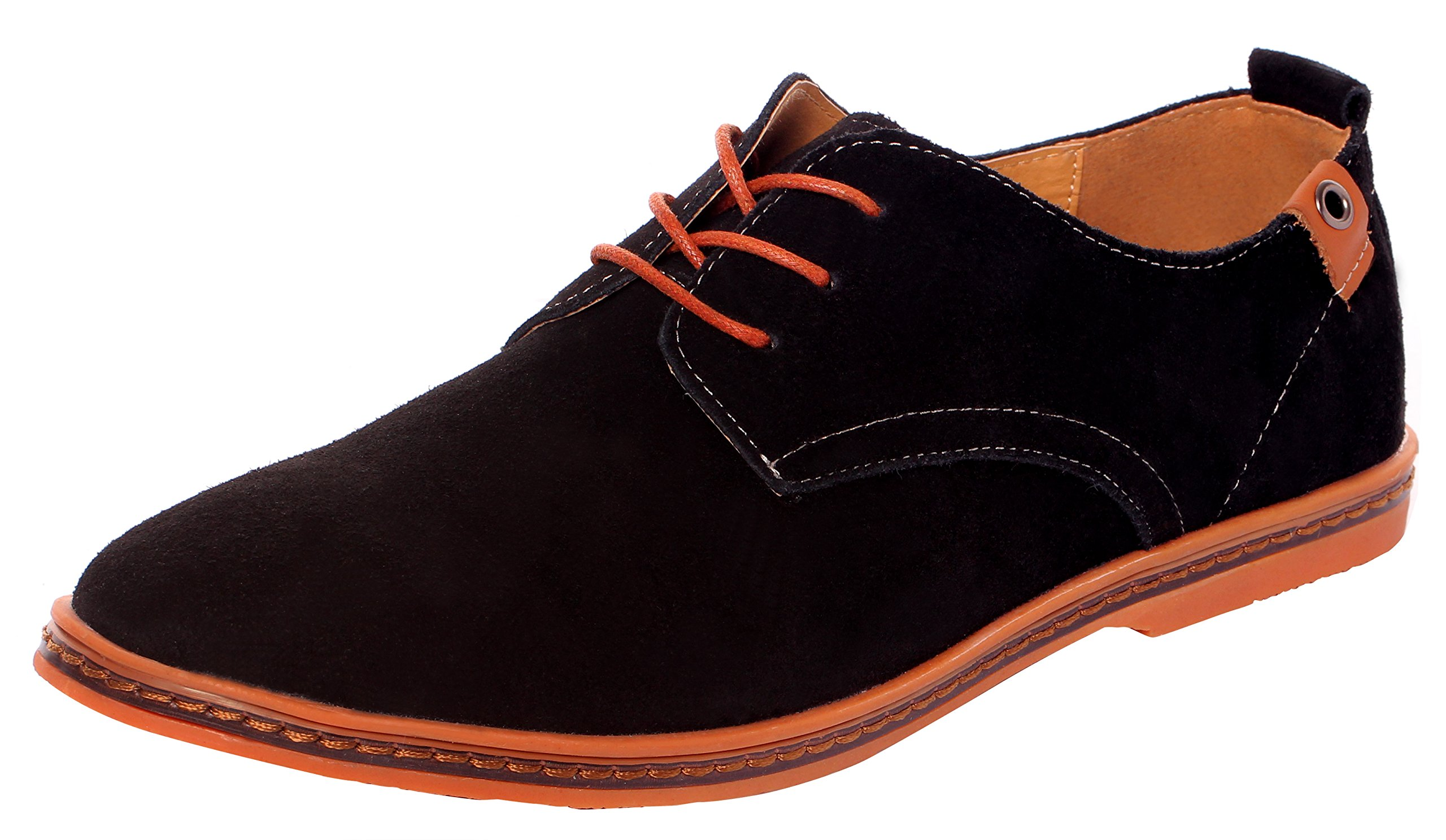 Serene Men's Casual Leather Lace up Soft Breathable Fashion Oxfords (8D(M) US, Black)