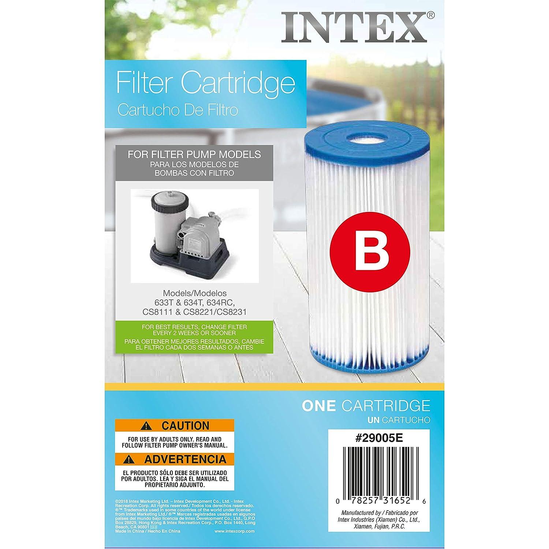 Intex 29005 - Cartucho tipo B altura 25,3 cm y diámetros 14,5/5 cm: Amazon.es: Jardín