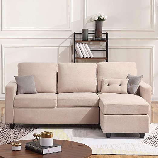 L-Shaped Couch with Modern Linen Fabric for Small Space Beige Aoxun Convertible Sectional Sofa Couch