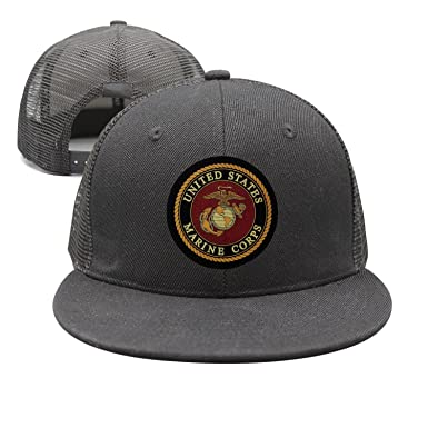 5915fc77190 Flat-Brim Baseball Caps USMC-Eagle Globe and Anchor Snapback Unisex  Adjustable Hat
