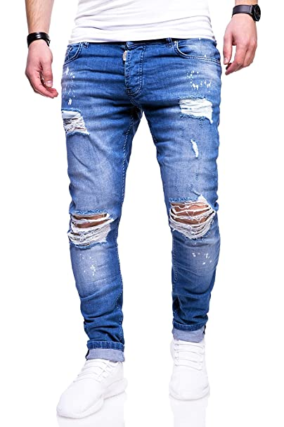 behype. Herren Destroyed Stretch Jeans-Hose Used Slim-Fit 80-2369