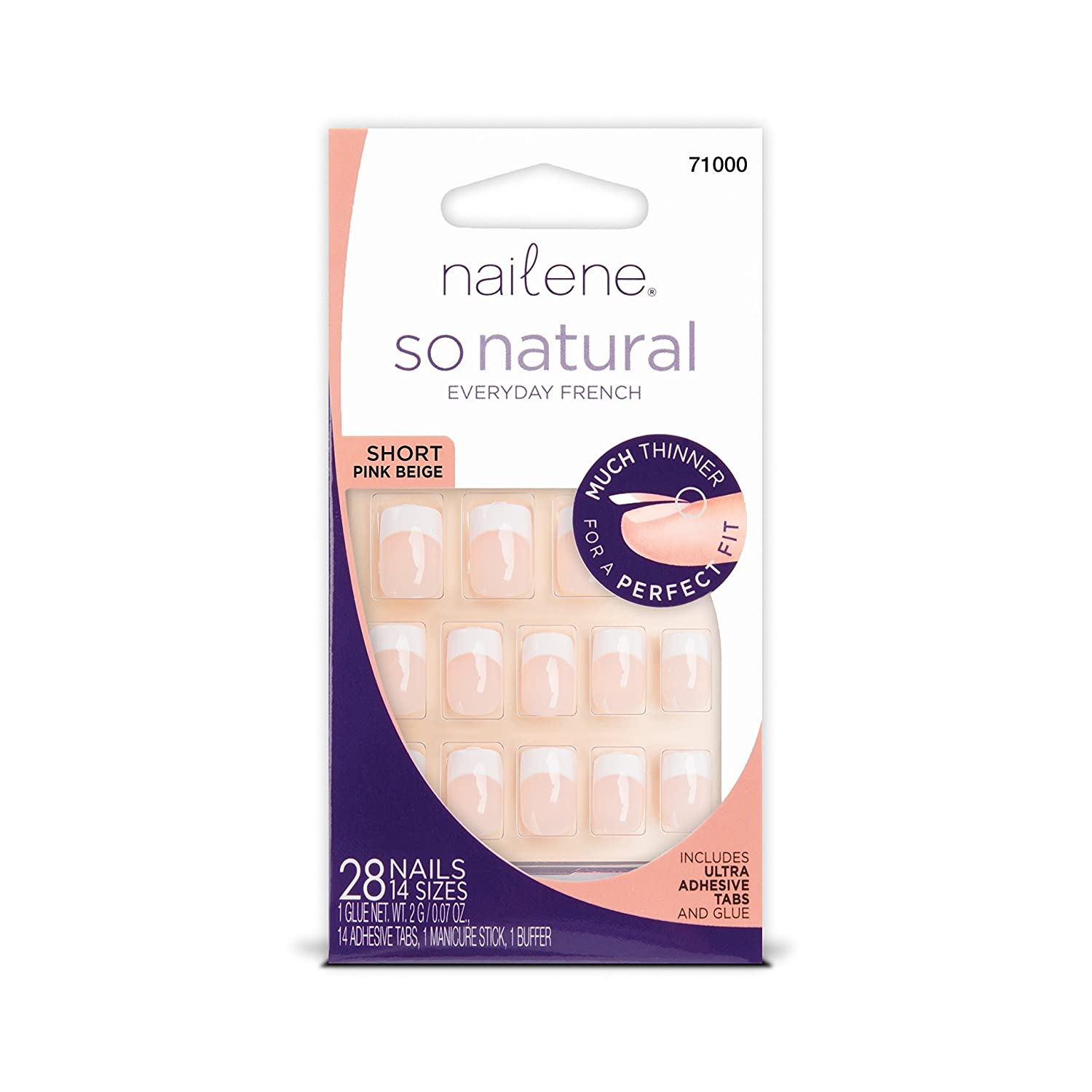 Nailene So Natural Short Nails, Pink, 25.513g Pacific World Corporation 71000