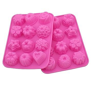 12 Anfimu diseño de flores de metal para pinzas para bolas de repostería de silicona gelatina o bombones con forma de pan molde para horno Candy: Amazon.es: ...