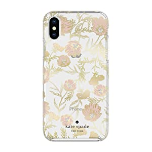 Kate Spade New York Phone Case | for Apple iPhone X and 2018 iPhone Xs | Protective Phone Cases with Slim Design, Drop Protection, and Floral Print - Blossom Pink/Gold with Gems