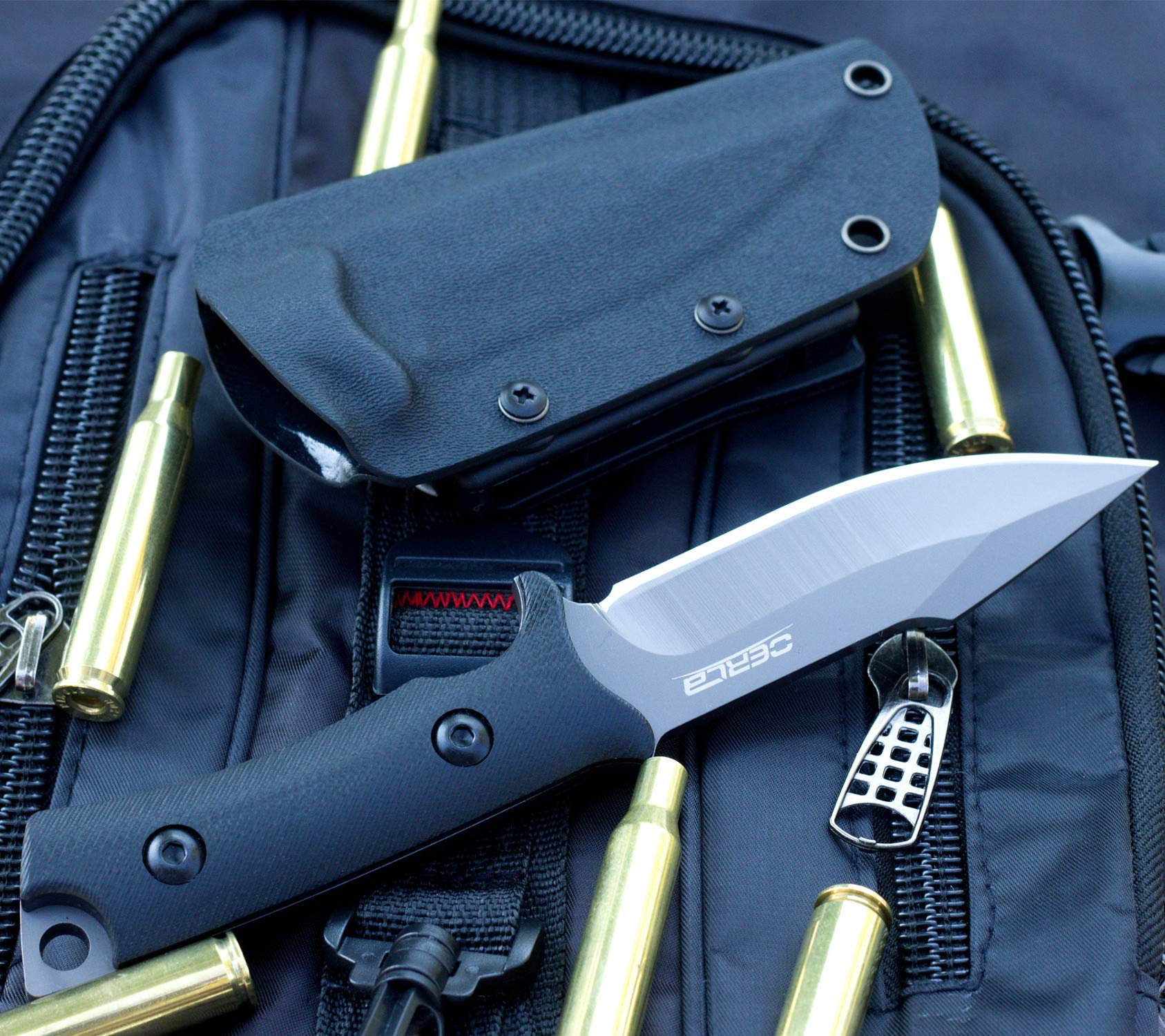Oerla TAC OLF-1009 Fixed Blade Outdoor Duty Knife 420HC Stainless Steel Field Knife Camping Knife with G10 Handle Waist Clip EDC Kydex Sheath (Black) by Oerla (Image #7)