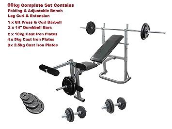 Banco de entrenamiento con peso 65 kg juego completo de Multi Gym hierro fundido peso placas