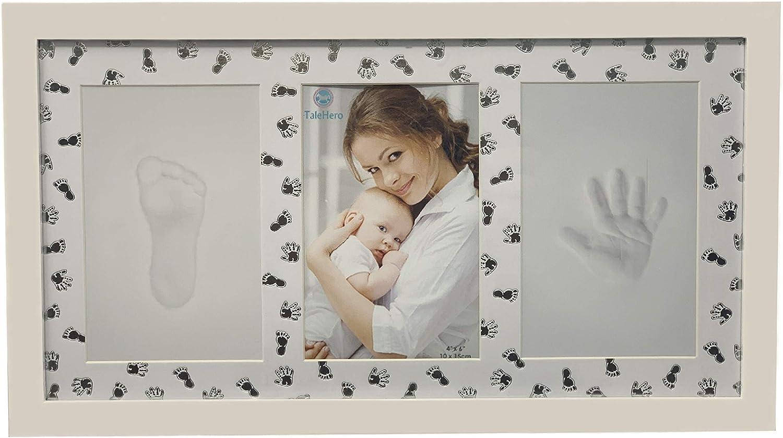 Marco con huellas de manos y pies para recién nacidos, idea regalo para recién nacido y mamá, arcilla para nacimiento de niños