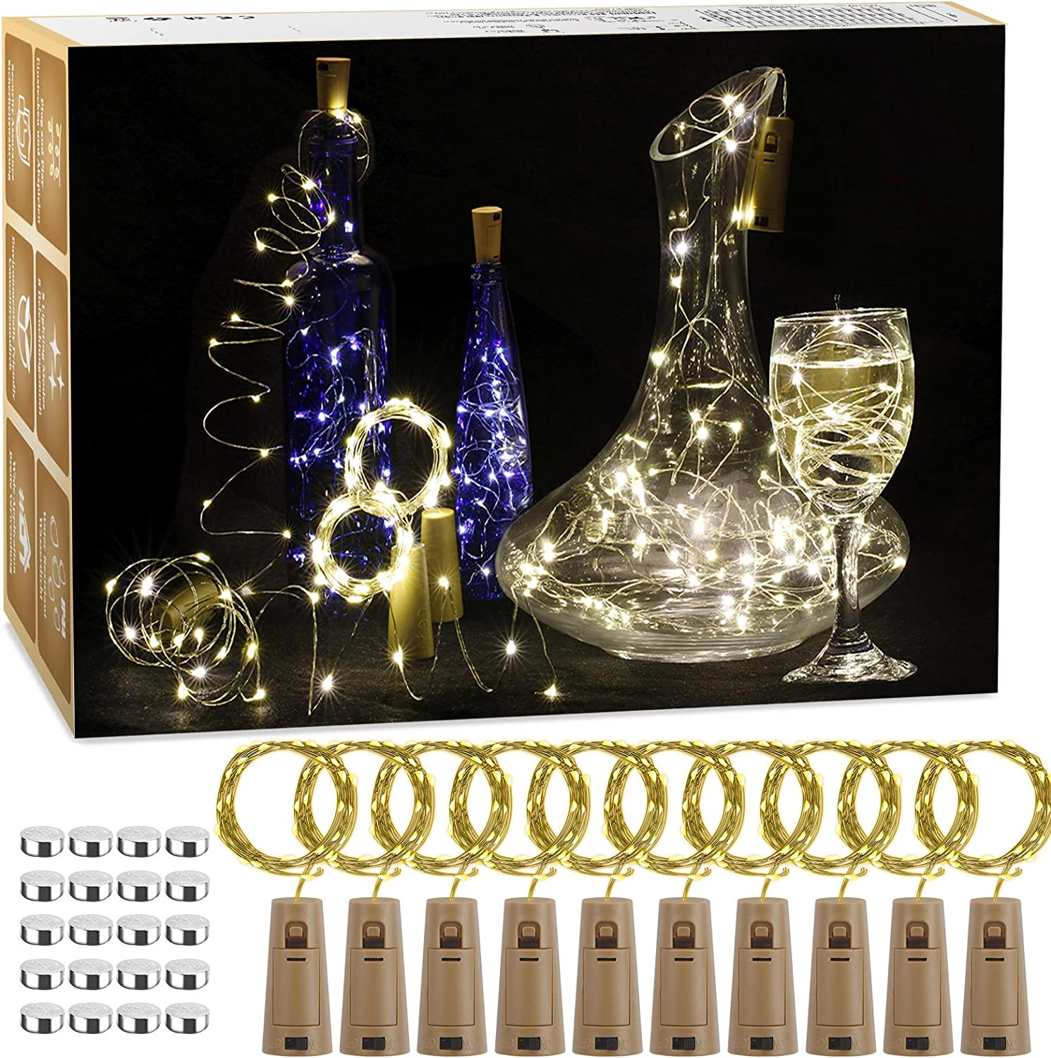 BIGHOUSE 12 Pack 2M 20 LEDs Copper Wire Battery Operated Wine Bottle Lights with Cork LED String Lights WAS £8.99 NOW £4.49 w/code IHGOCXMV @ Amazon