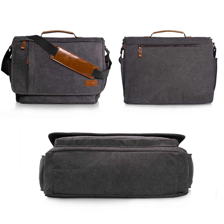 Estarer Laptop Messenger Bag 17-17.3 Inch Water-resistance Canvas Shoulder Bag for Work College by Estarer (Image #5)