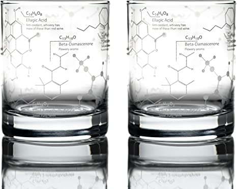 Science of Whisky Glasses (Set of 2) Etched with Whiskey Chemistry Molecules
