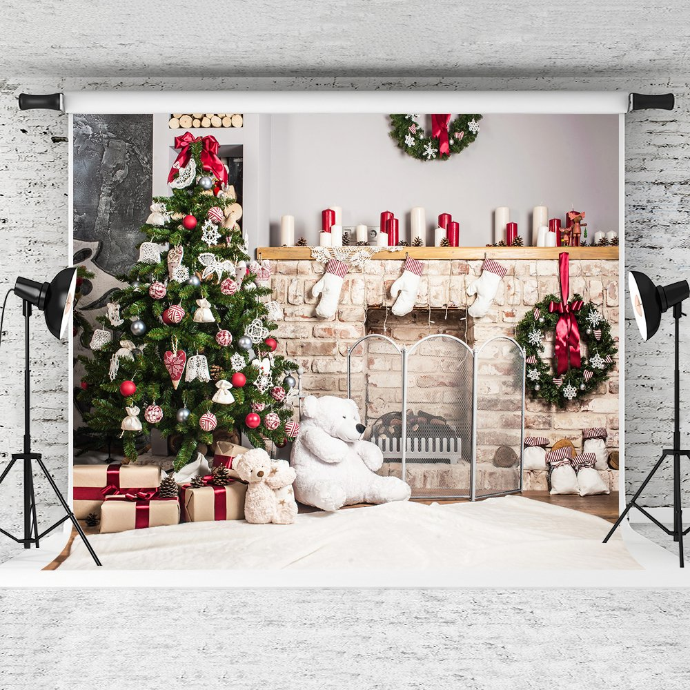 Kate 10x10ft Christmas Backdrop Fireplace Christmas Tree Backdrops Party Decoration Background by Kate