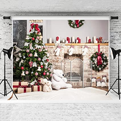 kate 10x10ft christmas backdrop fireplace christmas tree backdrops party decoration background - Fireplace Christmas Decorations Amazon