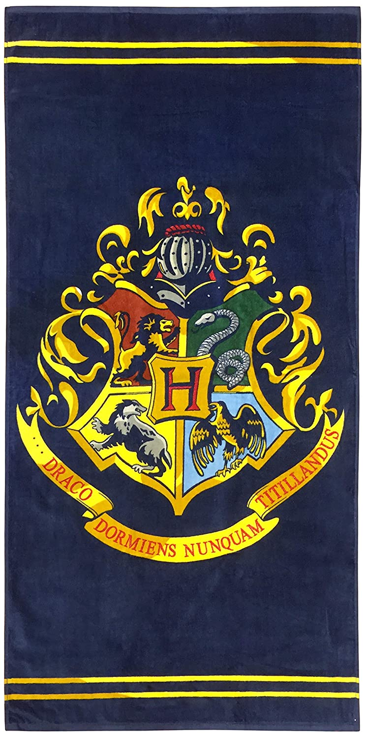 Jay Franco Harry Potter Classic Crest Kids Bath/Pool/Beach Towel, Absorbent Fade Resistant Cotton, Measures 28 inch x 58 inch, Dark Blue