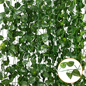 Funny Poop 12 Pack 84 FT Artificial Ivy Leaf Fake Ivy Hanging Greenery Garland Vines for Wedding Decor Party Room Kitchen Balcony Garden Wall Decoration