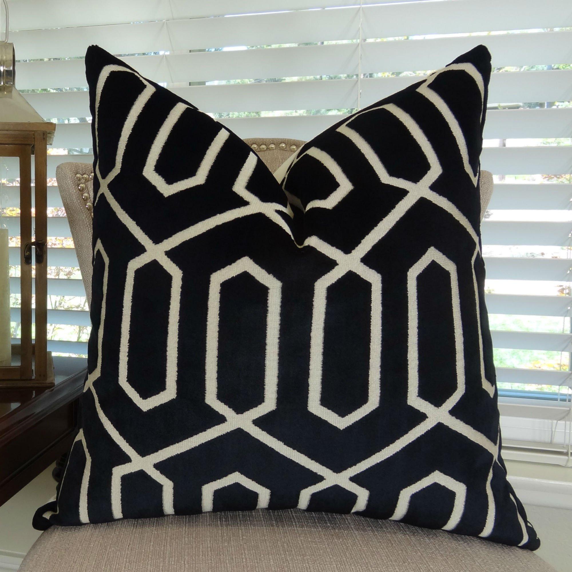Thomas Collection handmade decorative pillows, sofa throw pillow, Black Velvet Luxury Throw Pillow, Taupe Geometric Key Trellis Designer Pillow, INCLUDES POLYFILL INSERT, Made in USA, 11388 by Thomas Collection