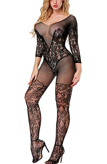 66ee16ead5 Vorifun Women Sexy Fishnet Bodystocking Crotchless Bodysuit with Sleeves 3  Colors Plus Size (Black 03