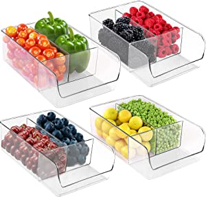 Utopia Home (Set of 4) Refrigerator Organizer Bins - 3 Divided Sections Pantry Organizers to Hold Fruits, Veggie, Dressing Mix, Spices, Tea Packets for Kitchen Cabinets, Pantry, Countertop – BPA Free
