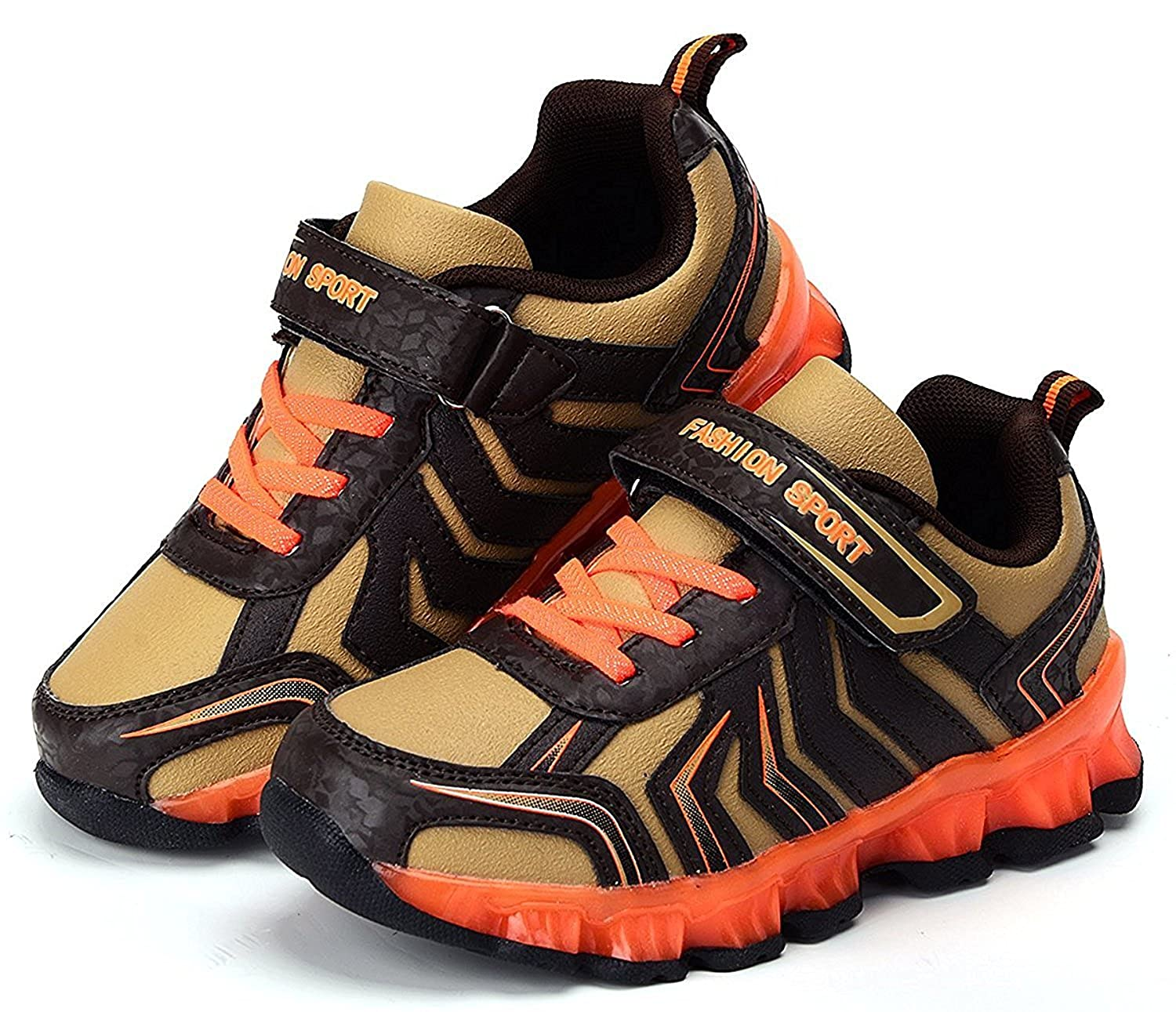 FG21ds21g Boys Girls USB Charger Led Light Shoes Nets Sneakers Unisex Sportswear Led Kids Shoes Brown 27 EU//10 M US Toddler