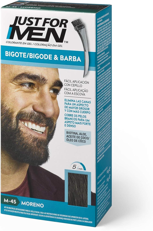 Just For Men, Tinte Colorante en gel para barba y bigote para hombre. Elimina las canas y cuida la barba en 5 minutos. Moreno, 15 ml